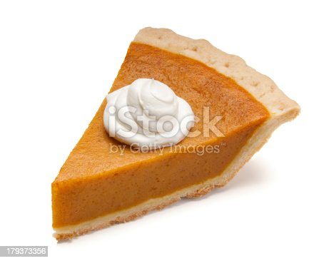 Pumpkin pie slice with whipped cream.  Please see my portfolio for other food and holiday related images.
