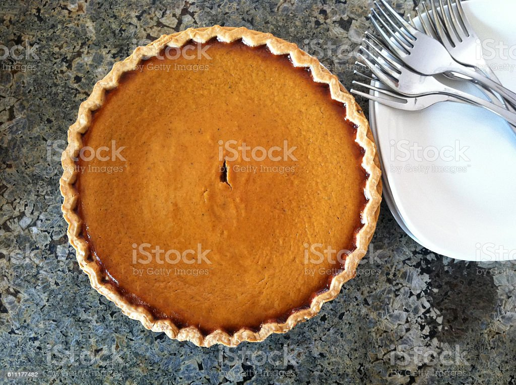 Pumpkin Pie Ready For Serving stock photo