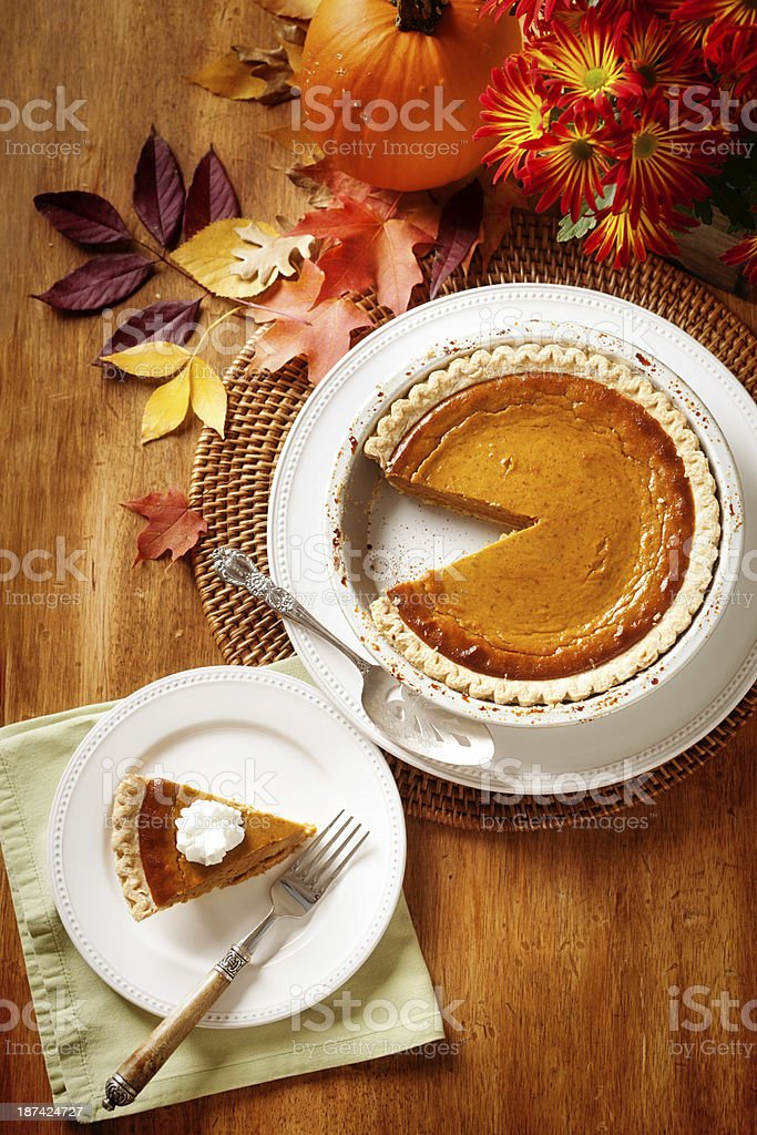 Pumpkin Pie Slice in Traditional Autumn Setting Vertical royalty-free stock photo