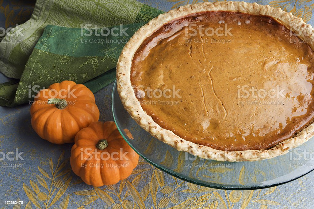 Pumpkin Pie Thanksgiving Dessert, a Homemade, Baked, Gourmet Holiday Food royalty-free stock photo
