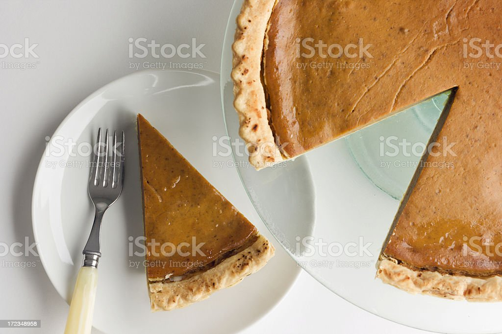 Pumpkin Pie with Sliced Piece on Plate for Thanksgiving Dessert stock photo