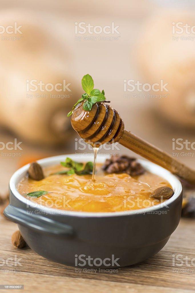 pumpkin porridge with  honey royalty-free stock photo