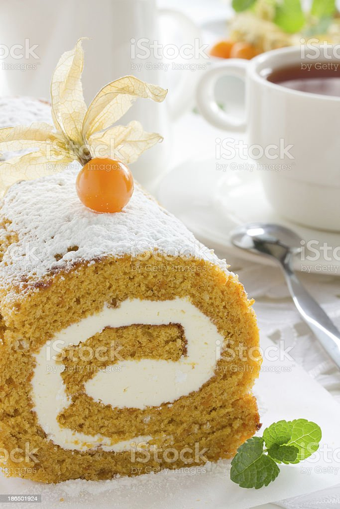 Pumpkin roll with the cream. royalty-free stock photo