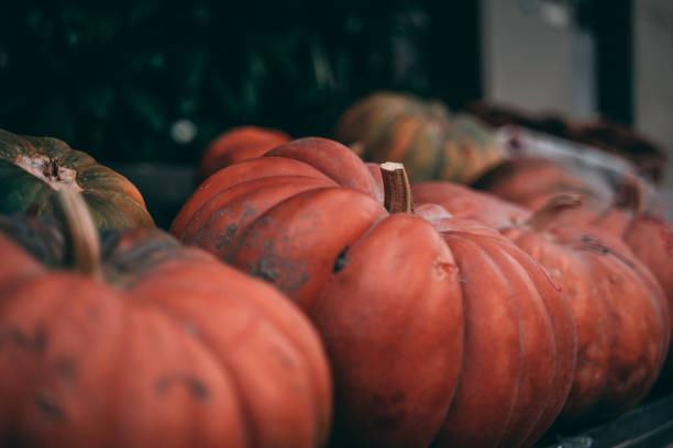 Pumpkin sale in a small town in Germany stock photo