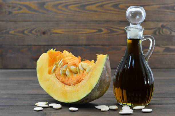 Pumpkin seed oil stock photo