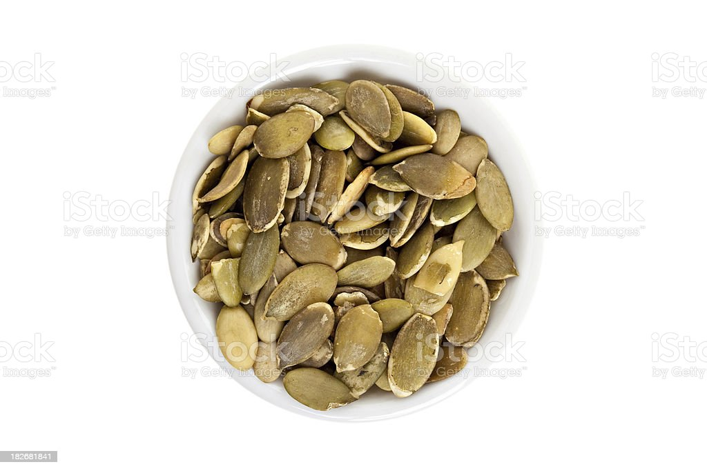 Pumpkin Seeds In A bowl stock photo