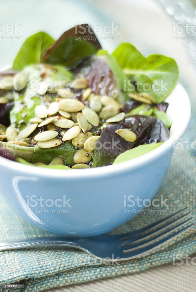 Pumpkin Seeds on Salad stock photo