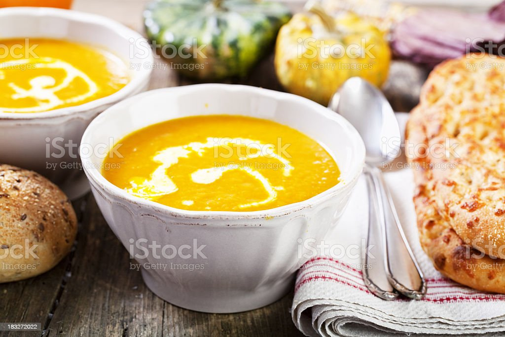 pumpkin soup and bread royalty-free stock photo