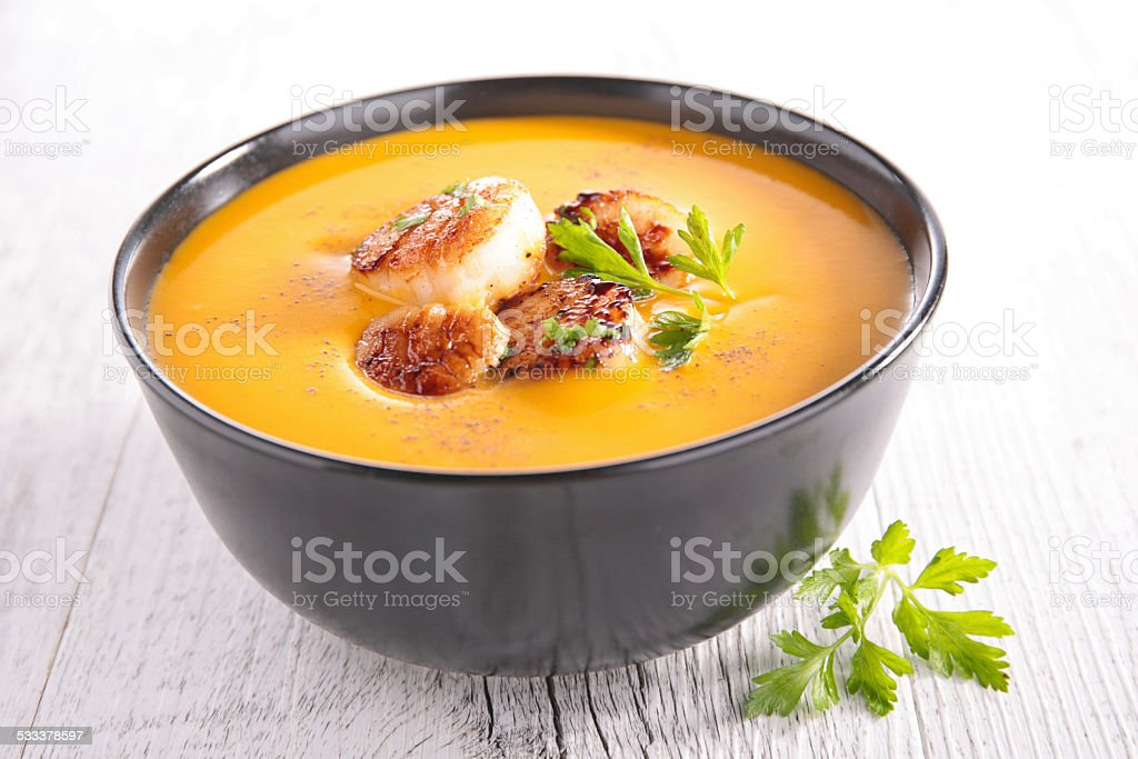 pumpkin soup and scallop stock photo