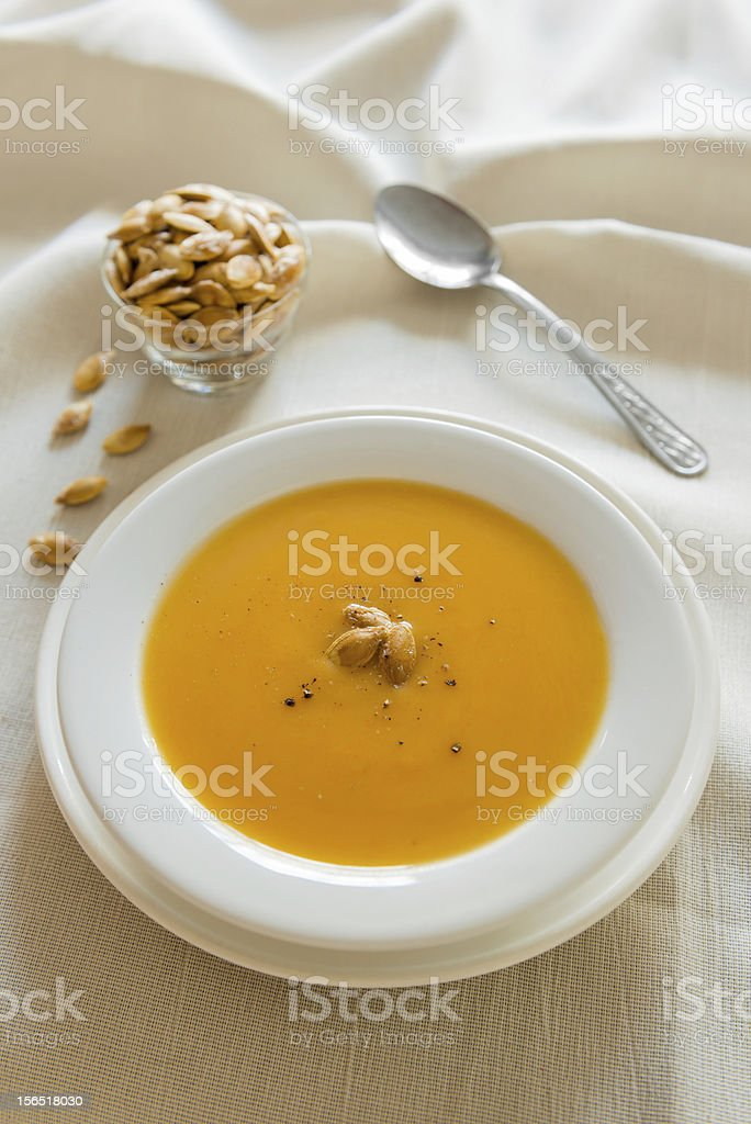 Pumpkin soup diner royalty-free stock photo