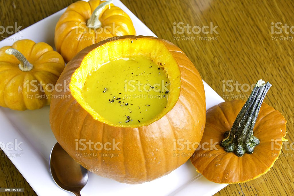 Pumpkin soup in a pumpkins royalty-free stock photo