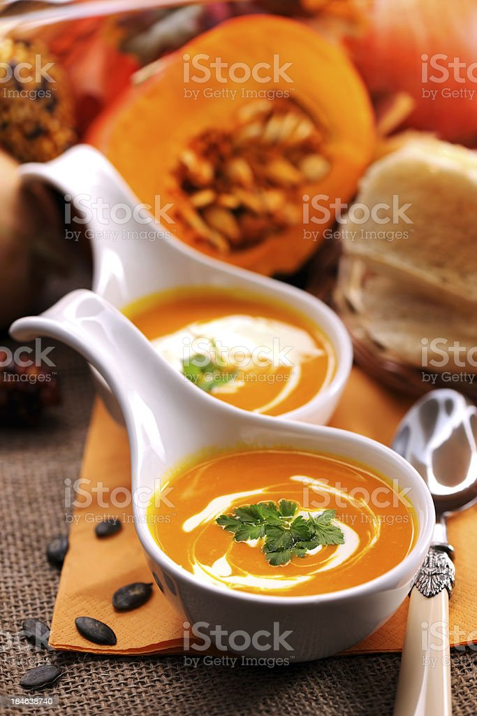 Pumpkin soup with creme fraiche royalty-free stock photo