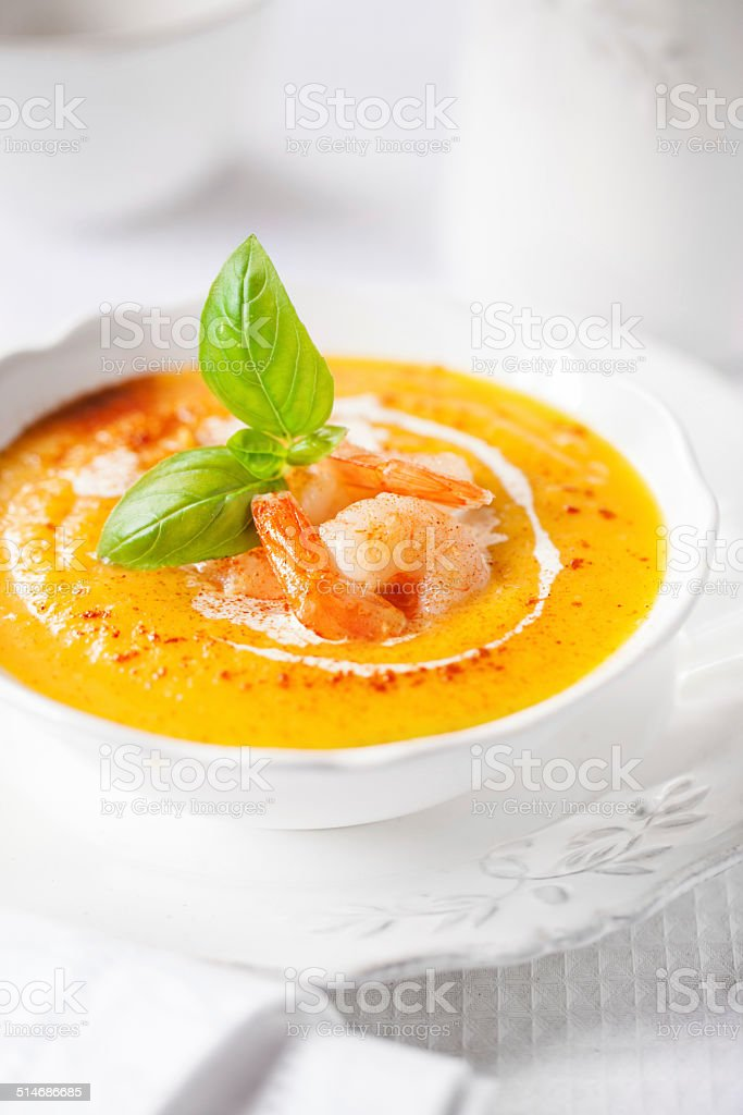 Pumpkin soup with shrimps and basil - Royalty-free Autumn Stock Photo