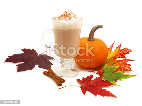 Pumpkin spice latte - fall theme - isolated on white