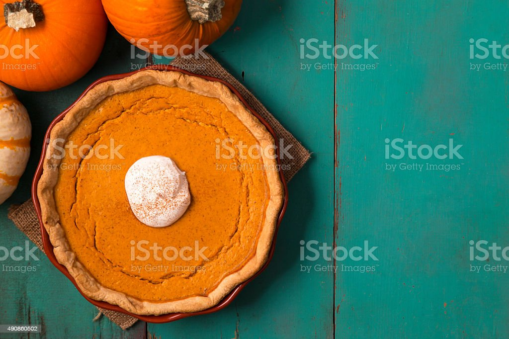 Pumpkin Spice Pie on Farm Table stock photo