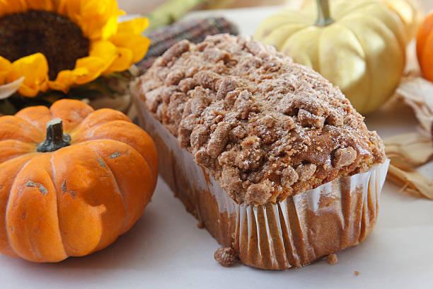 Pumpkin strusel poundcake loaf stock photo