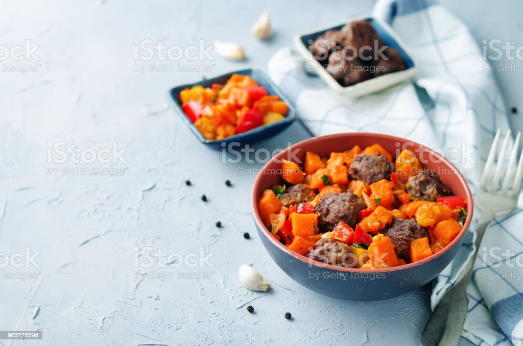 Pumpkin sweet potato Bell pepper stew with meatballs - Royalty-free Appetizer Stock Photo