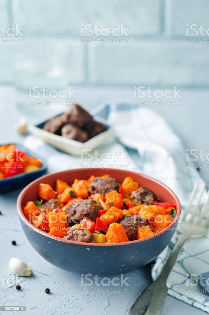 Pumpkin sweet potato Bell pepper stew with meatballs - Royalty-free Appetizer Stock Photo