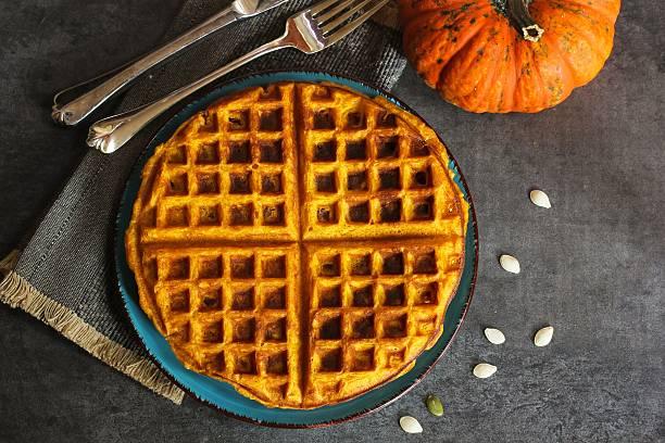 Pumpkin Waffles stock photo