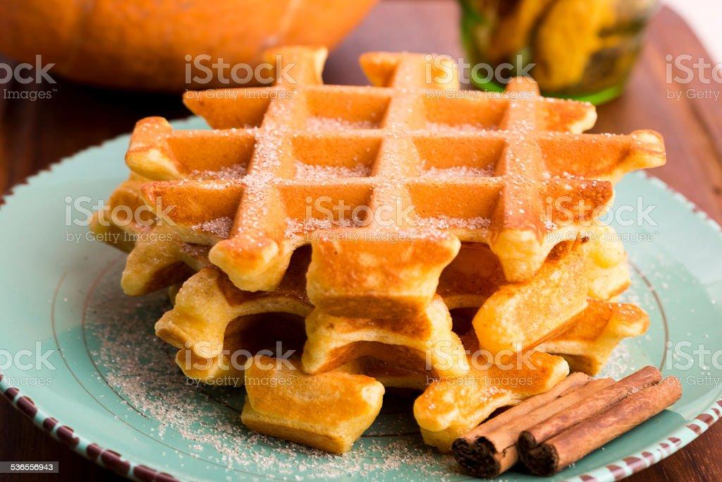 pumpkin waffles with cinnamon sugar stock photo