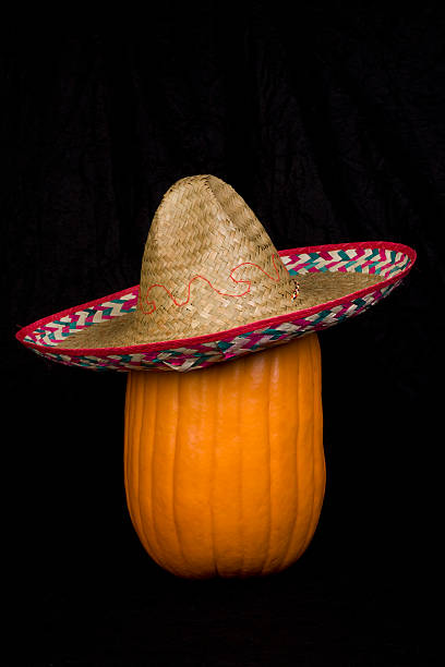 Pumpkin Wearing a Sombrero stock photo