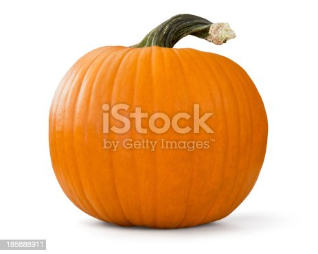 pumpkin with clipping path over white background