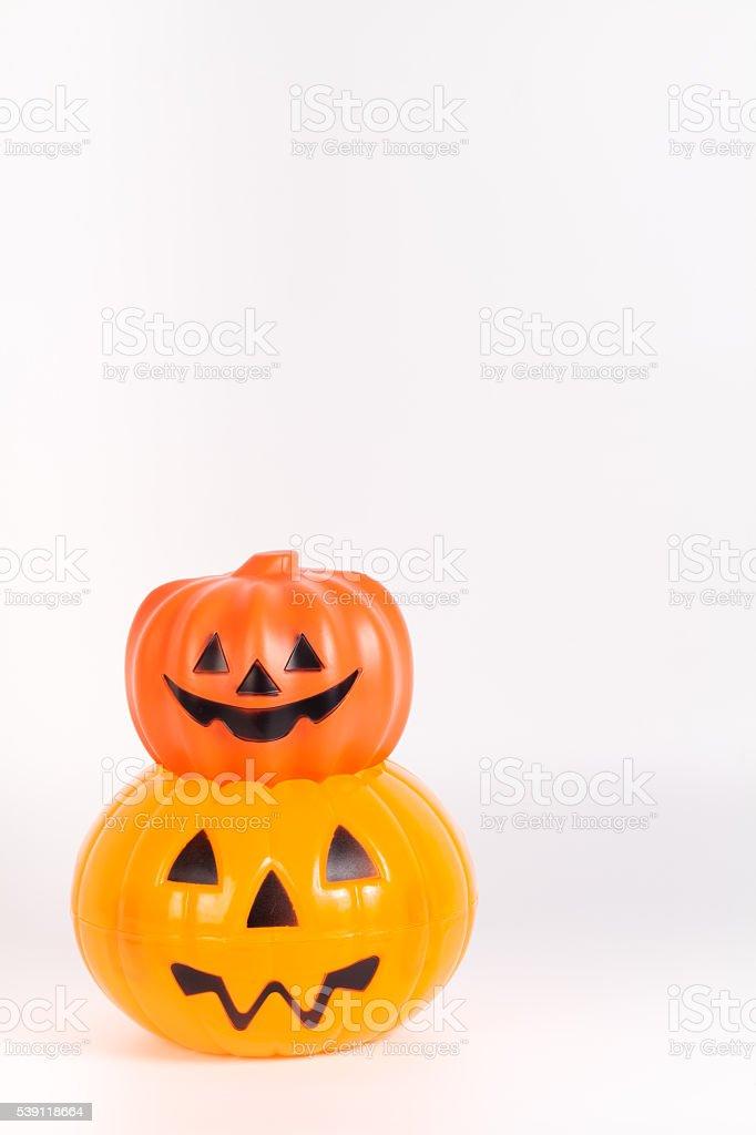 Pumpkin With Halloween Phrases On White Background stock photo ...