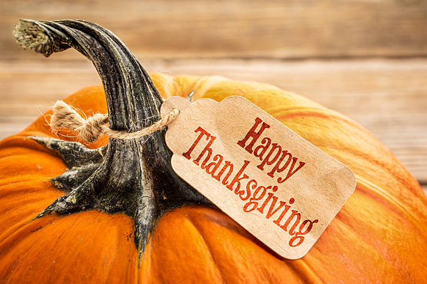Felice Giorno del Ringraziamento zucche con targhetta - foto stock