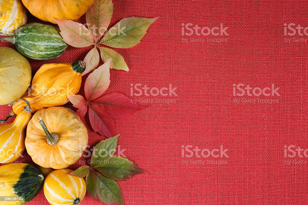Pumpkins and autumn leaves over textile background foto royalty-free