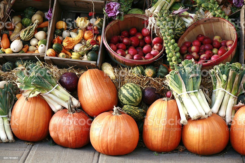 Pumpkins and gourds at farmer's market. stock photo