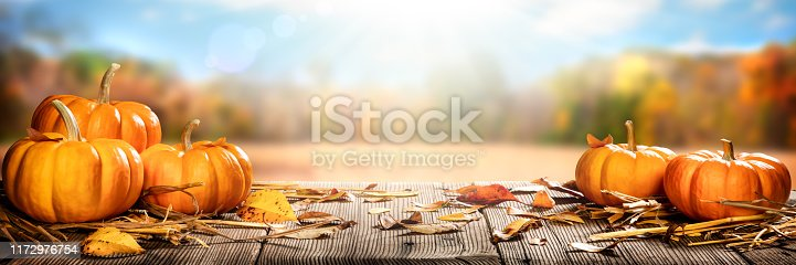 Thanksgiving Pumpkins And Leaves On Rustic Wooden Table With Sunlight And Bokeh On Autumn Background - Thanksgiving / Harvest Concept