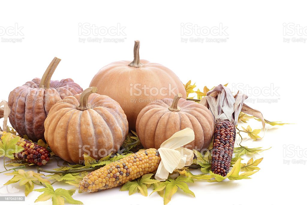 Pumpkins and maple leaves royalty-free stock photo