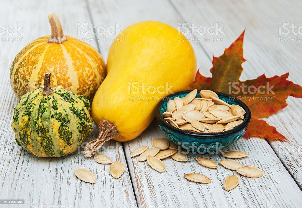Pumpkins and seed photo libre de droits