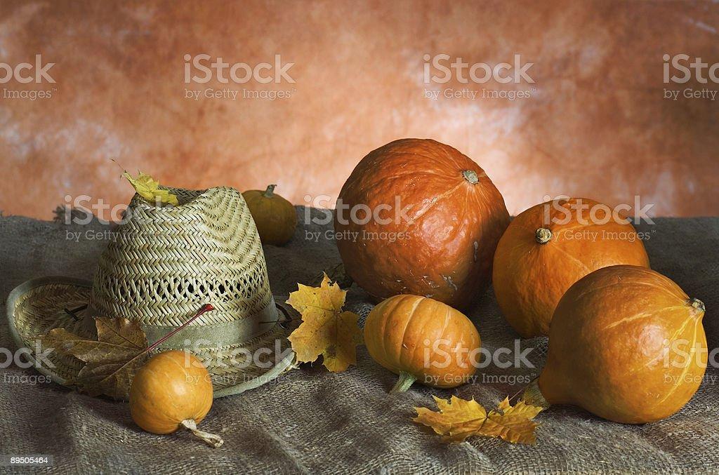Pumpkins and sombrero royalty-free stock photo