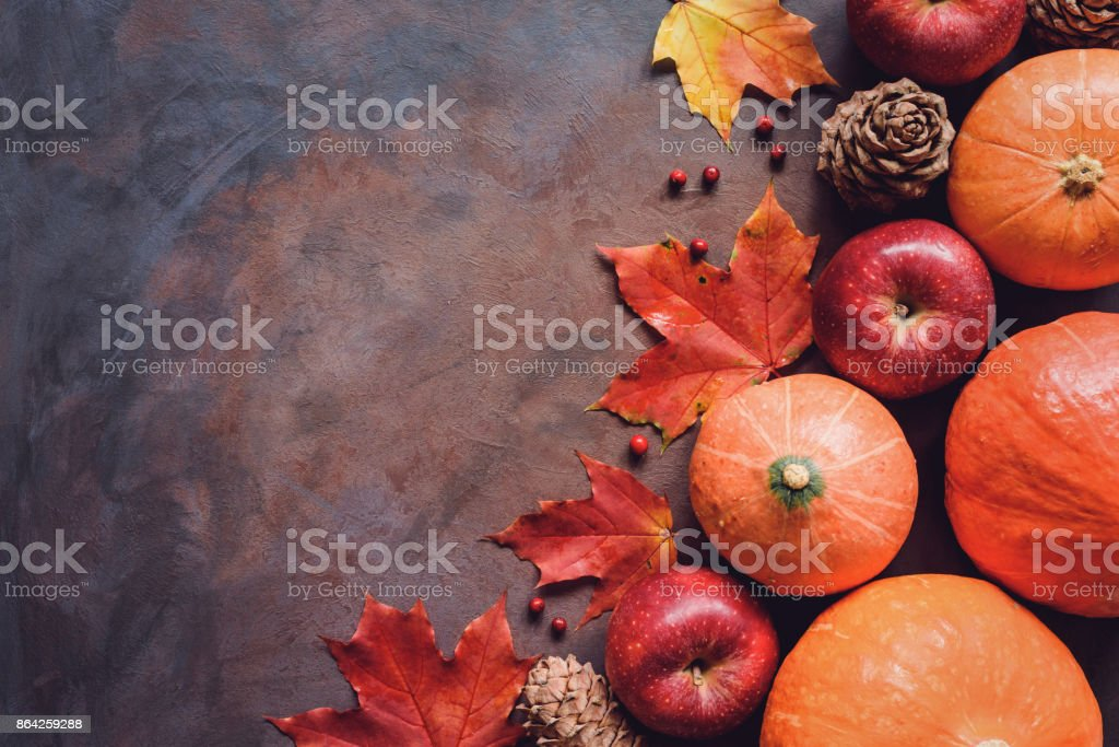 Pumpkins, apples, maple leaf and pine cones. Seasonal fall background royalty-free stock photo