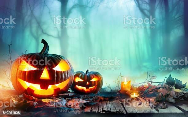 Jack O' Lantern In Woodland With Mist