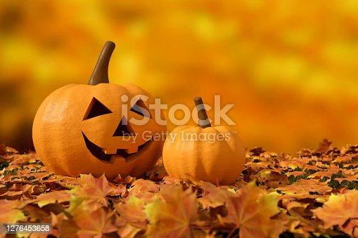 3d render, Halloween, Pumpkin, Jack O' Lantern, Smiley Face, Autumn background.