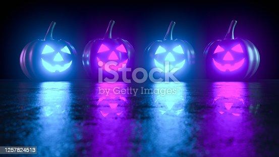 3D Rendering, Halloween, Pumpkin, Jack O' Lantern, Smiley Face, Illuminated, Neon Lightning.