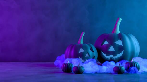 3d kürbisse für halloween mit gruseligem gesicht, jack o' laterne, rauch und neon lichter - neon partylebensmittel stock-fotos und bilder