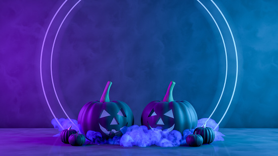istock 3D Pumpkins for halloween with spooky face, Jack O' Lantern, Smoke and Neon Lights 1169414973