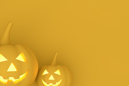 istock 3D Pumpkins for halloween with spooky face, Jack O' Lantern, Yellow Background 1171870193