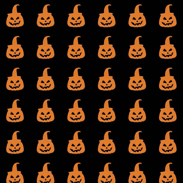 pumpkins halloween black background seamless pattern wrapping paper background - diction stock pictures, royalty-free photos & images