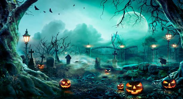 dynie na cmentarzu w upiornej nocy - halloween tło - upiorny zdjęcia i obrazy z banku zdjęć