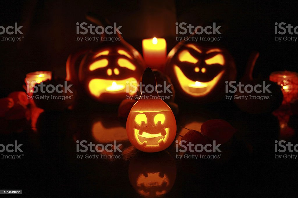 pumpkins in the dark royalty-free stock photo