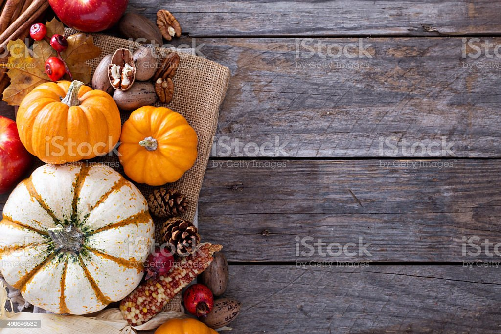 Pumpkins, nuts, indian corn and apples stock photo