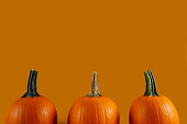 Close up shot of three classic orange pumpkin isolated on bright background as a symbol of autumnal holidays with a lot of copy space for text.