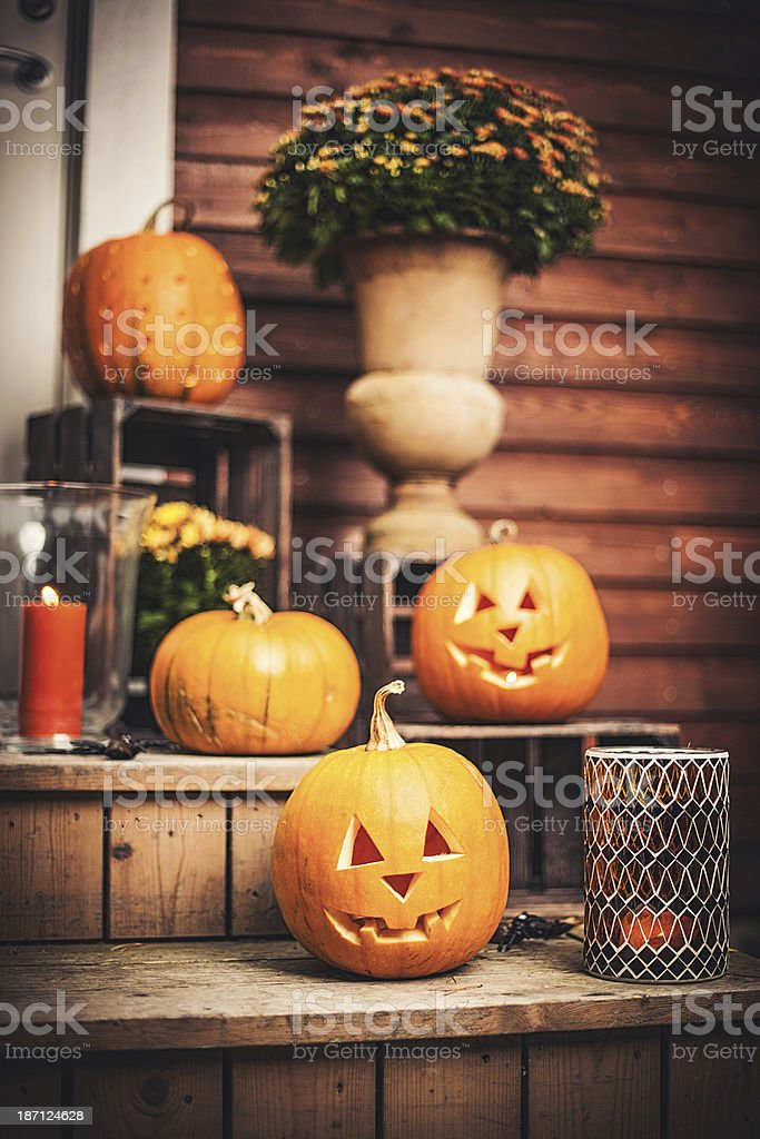 Pumpkins on front step with halloween decorations stock photo & Royalty Free Jack O Lantern On A Doorstep Pictures Images and Stock ...