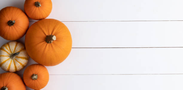 Pumpkins on wooden background stock photo