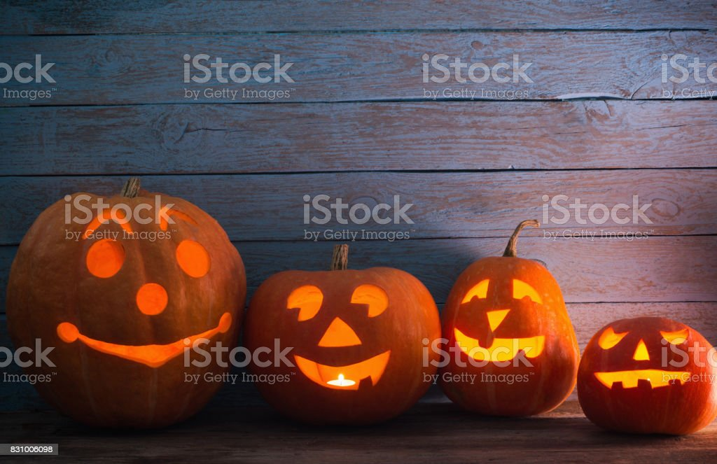 pumpkins on wooden background with copy space stock photo