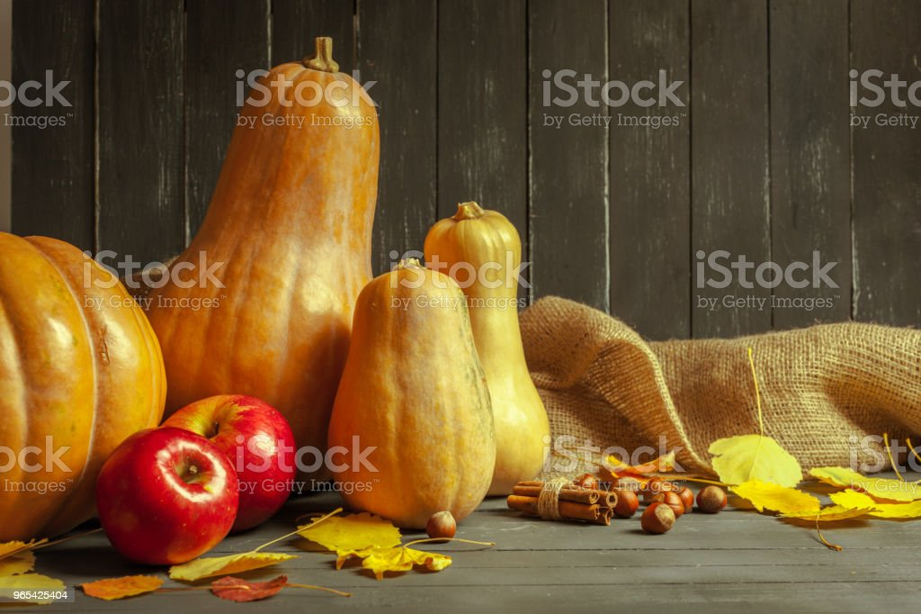 pumpkins on wooden board royalty-free stock photo